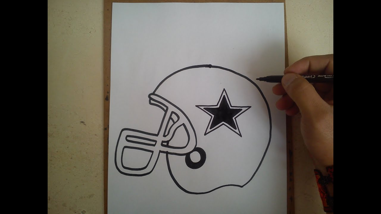 Como dibujar el casco de los vaqueros de dallas / HOW TO DRAW HELMET ...