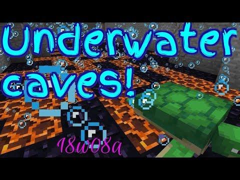 New ocean biomes & Underwater caves!- Snapshot 18w08a