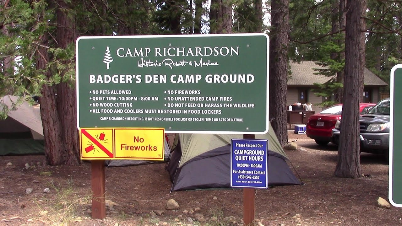 Camp Richardson Tent Camping Badgers Den - YouTube on