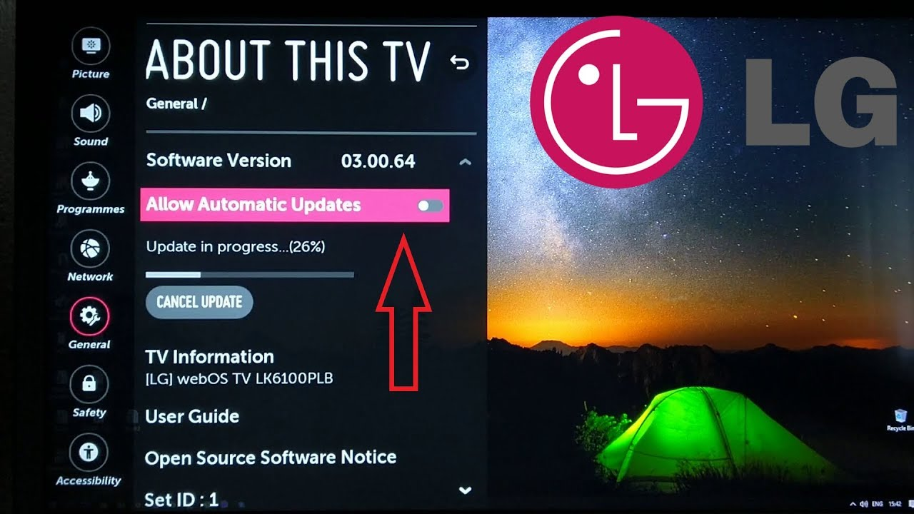 LG SMART TV WebOS update via WiFi - YouTube