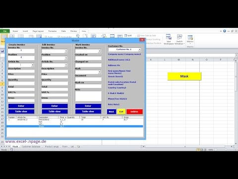 0_Invoicing program with integrated customer database and product range in Excel itself create.