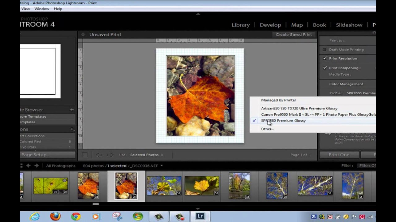 How to Print from Adobe Photoshop Lightroom to the EPSON R2880