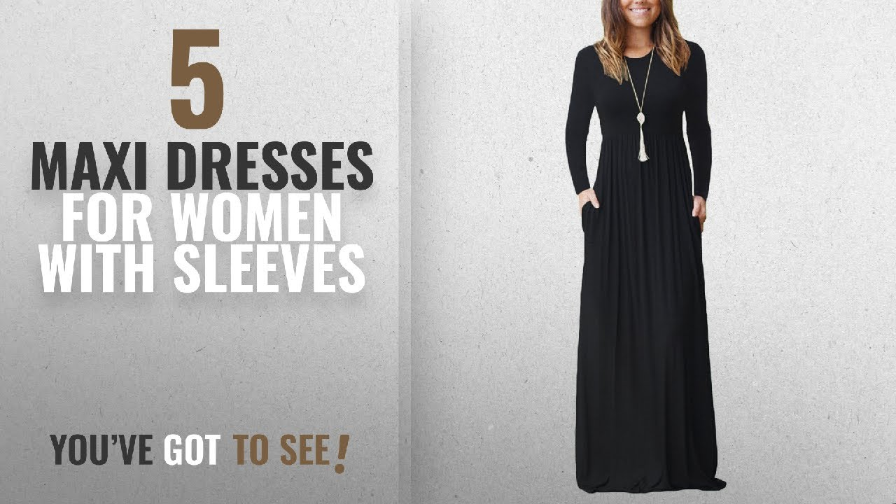 769b726f4355 Top 10 Maxi Dresses For Women With Sleeves [ Winter 2018 ]: AUSELILY ...