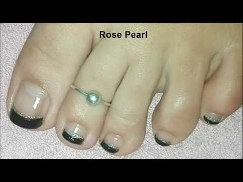 Black Holographic FRENCH Pedicure Nail Art Tutorial- Halloween Toe Nail Art | Rose Pearl thumbnail