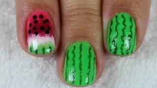 Unhas De Melancia Degradê (ombré - Esponja) - Watermelon Gradient Nail Art