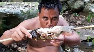 Primitive Technology - Find fish at river  - take to cook   eating delicious