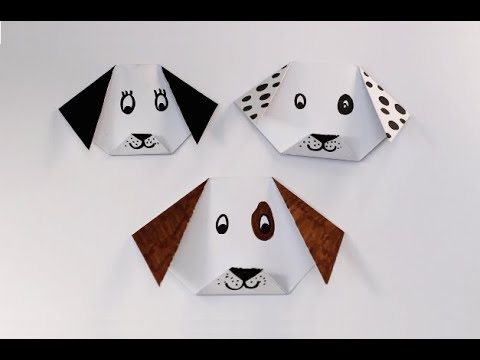 DIY How To Make An Easy Paper Origami Dog Face Craft - YouTube