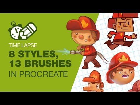 timelapsetuesday:-8-styles-using-13-brushes-in-procreate!