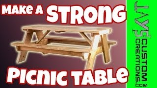 How To Build A Strong Picnic Table - Free Plans - 084