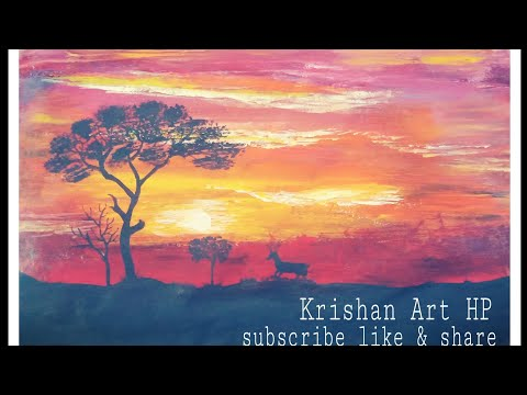 How to draw a sunset painting#Acrylicpainting#landscape painting#how to draw a scanery#drawing study