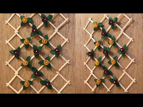 popsicle stick crafts ideas / diy wall hanging / hiasan dinding dari stik es krim dan kain flanel