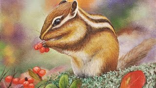 Winter Chipmunk Acrylic Painting LIVE Tutorial