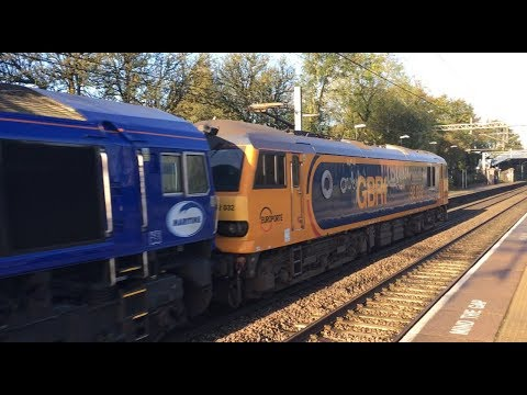 """Low Sun Dyson - GBRf 92032  + 66727 """"Maritime One"""" on 6S94 China Clays - Acton Bridge 25-10-2017"""