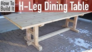 Full Article: http://rogueengineer.com/diy-h-leg-dining-table-plans/ Subscribe on YouTube: http://bit.ly/rogueSUB ---------------------------