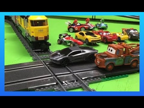 LEGO TRAIN vs CARRERA GO SLOT CARS Mater and Transformers FUN PLAY!