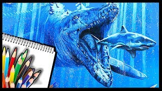 How to Draw MOSASAURUS - DINOSAUR Speed Drawing - Jurassic World