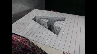 Draw a Letter A || Hole on Line Paper || 3D Trick Art