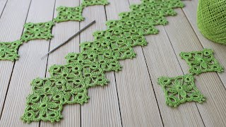 ЛЕНТОЧНОЕ КРУЖЕВО на основе квадратного мотива ВЯЗАНИЕ КРЮЧКОМ мастер-класс СХЕМА УЗОРА Crochet Tape