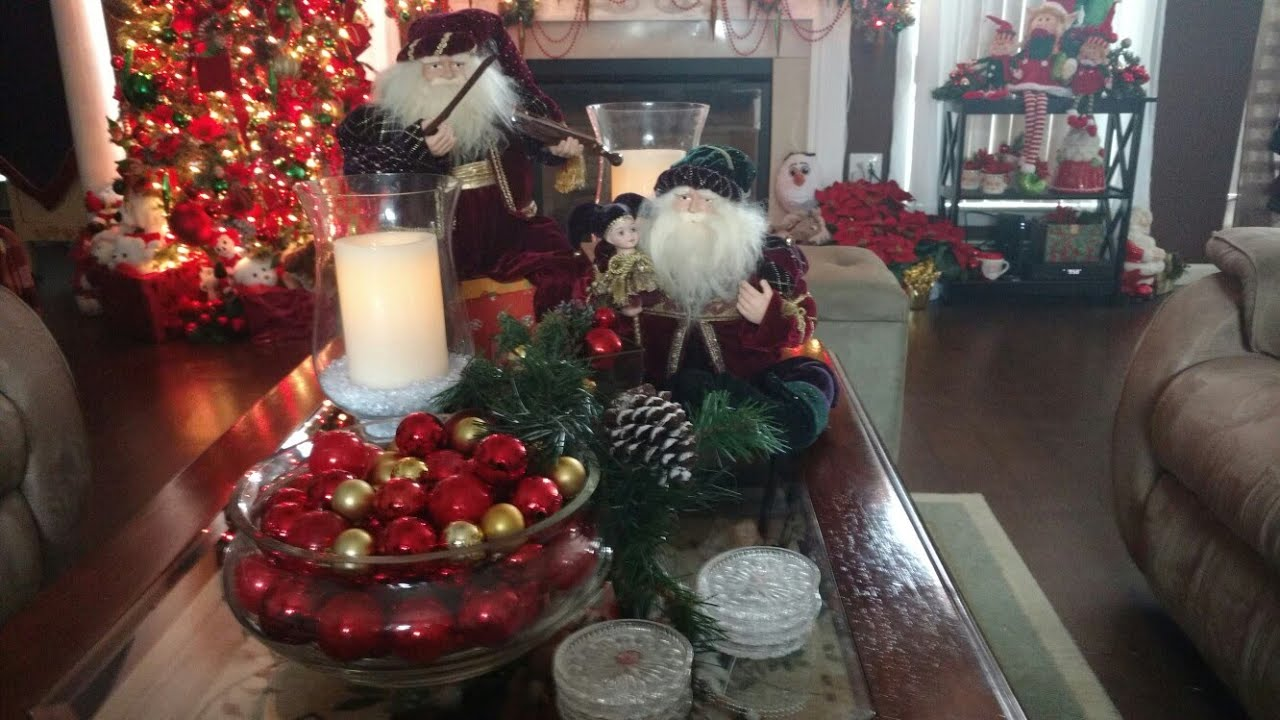 christmas 2017 coffee tablescape sofa table part 11 in series 2017 - Christmas Decorations For Sofa Table