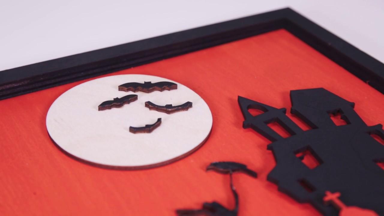 Haunted house 3D Halloween Wooden MDF Laser cut
