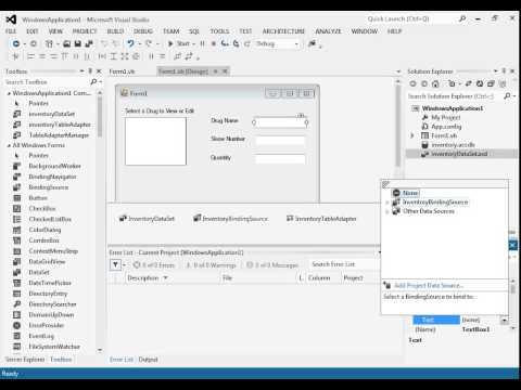 Tutorial 8: Data Binding in Visual Studio with Visual Basic