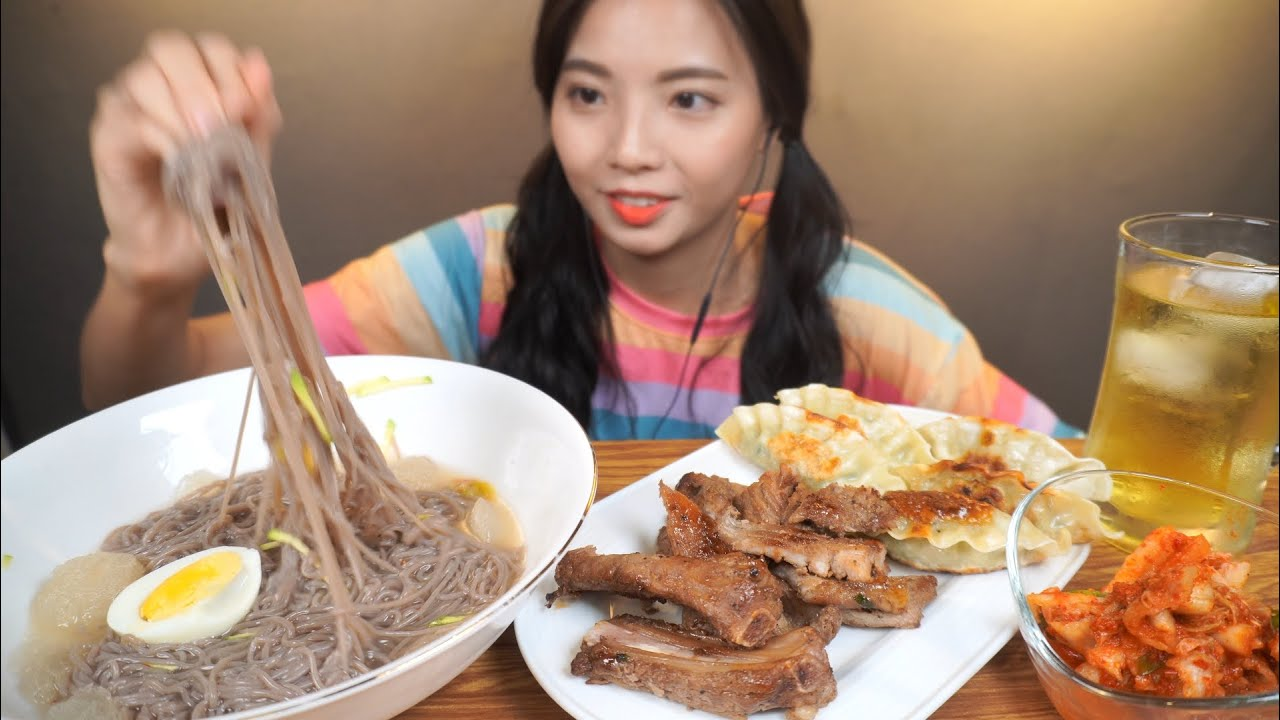 집에서 만든 물냉면&갈비&만두~!! Korean cold noodles &Dumplings &Pork BBQ~ Mì lạnh, Mie air dingin ! Hany Mukbang