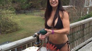 Bikini Survivalist 49 Year Old Farm Girl Makes One Egg Emu Quiche.