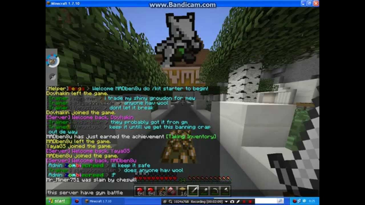 Minecraft Cracked Pixelmon Server 1 7 10 3 4 0 Youtube