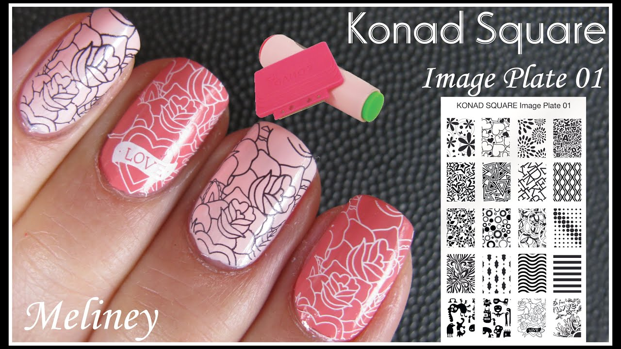 Konad Square Image Plate Stamping Nail Art Blush Pink Flower Print Design How To Tutorial