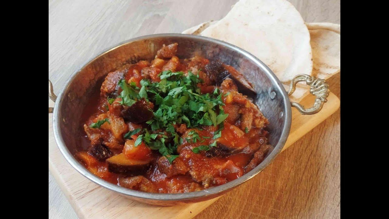 Auberginen-Fleisch-Eintopf - Matfunet Batenjan – Yakhnet Batenjan –  arabische Küche