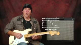 Blues Rock lead guitar lesson Aeolian mode scales licks riffs with jam music backing track pt4