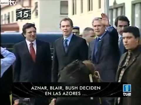 Aznar buscando su sitio en la foto de las Azores - YouTube