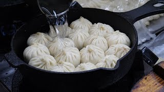 grilled and steamed dumplings - taiwanese street food