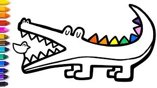 How to Draw an Alligator   Learning Colors and Letters for Kids   Coloring & Drawing page