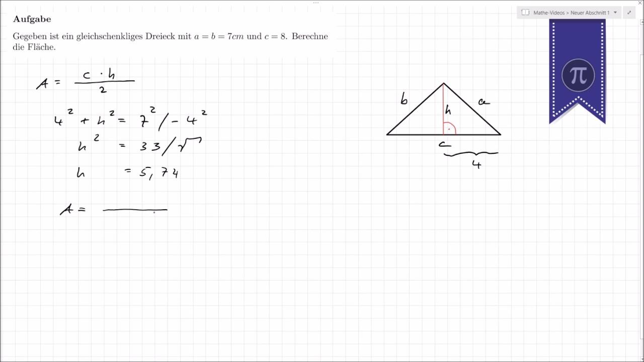 Katheten Berechnen : dreieck fl che berechnen youtube ~ Themetempest.com Abrechnung