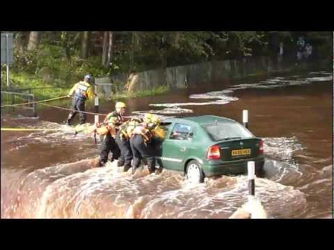 Kilmarnock,Ayrshire,Scotland.River Rescue By Emergency Services (17sep2011)