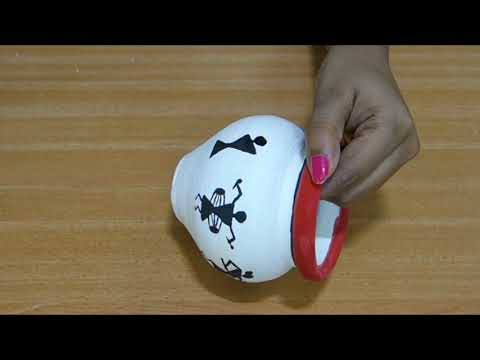 how to decorate pot | Warli Painting on Pot | terracotta pot painting | how to draw warli art on pot