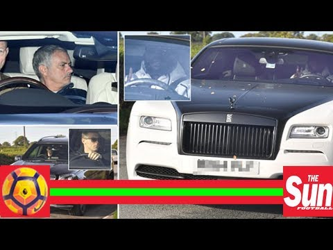 Manchester united stars arrive at training in fleet of luxury cars