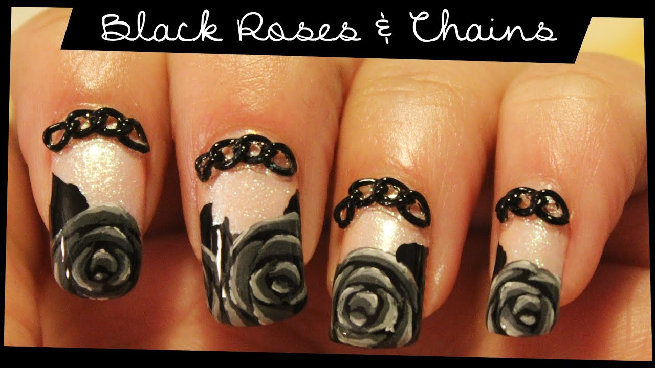 Black Roses & Chains nail art - YouTube