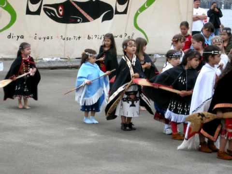 Makah Native American children in the canoe dance