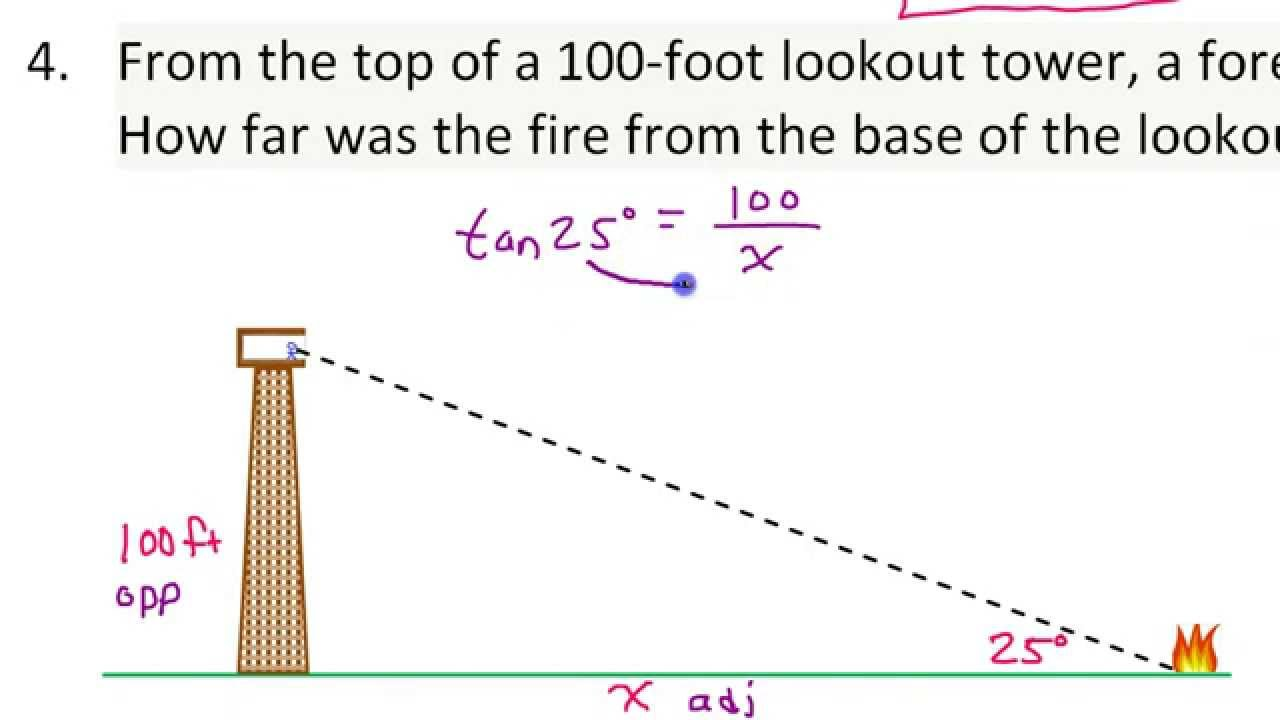 Applications Of Trigonometric Ratios Word Problems Involving