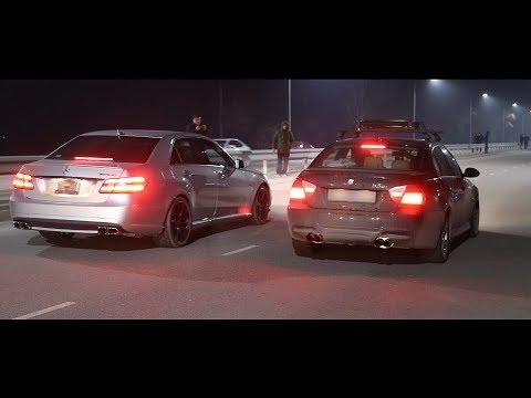 Спецвыпуск! Свежепригнанный MB E63 W212 AMG 525сил ПРОТИВ (Crown Athlete + BMW E90 335i)