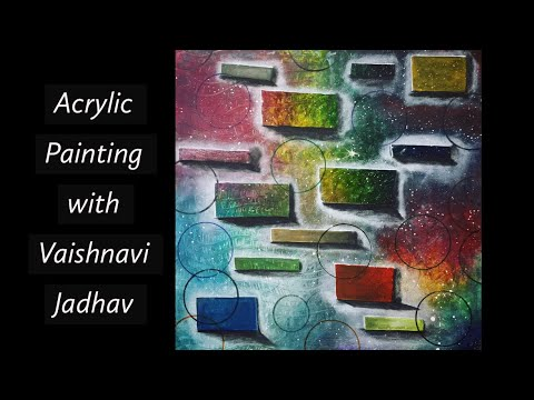 Creative Abstract Canvas Painting Using Acrylic Paints  By Vaishnavi Jadhav.