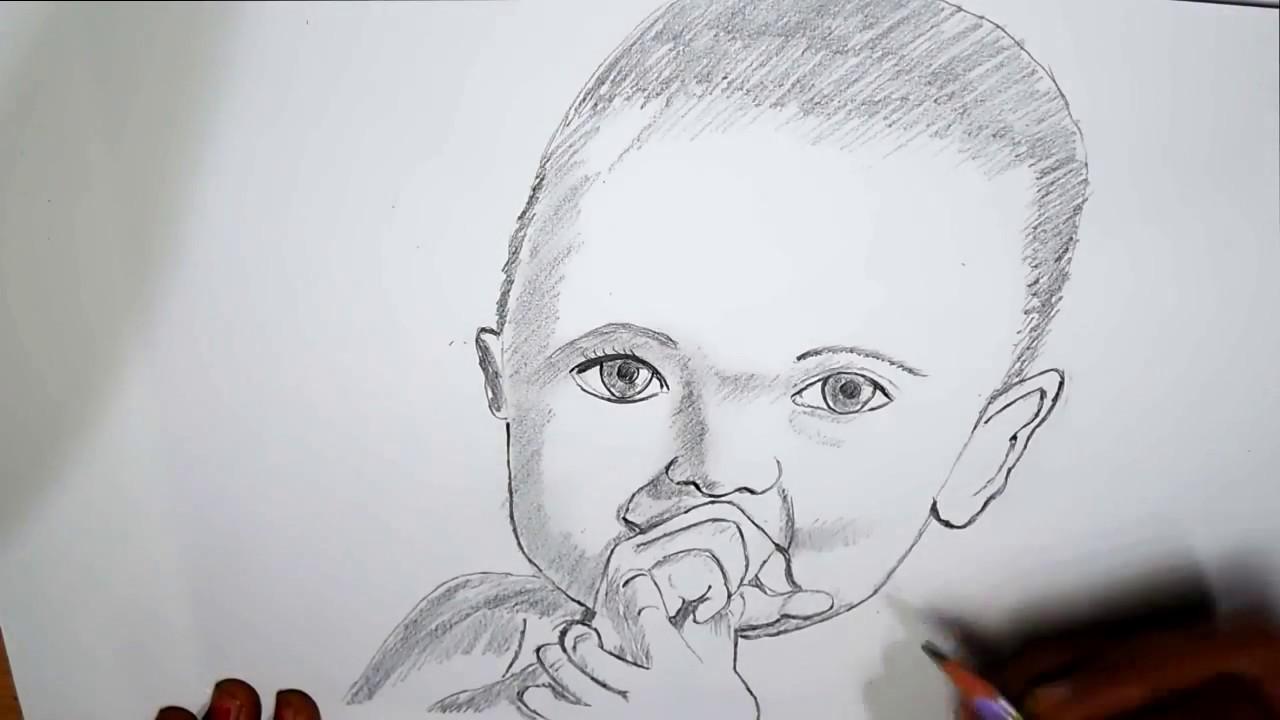 Cute baby pencil sketching pencil portrait