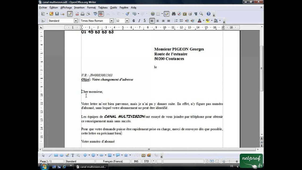 Modele lettre openoffice document online - Open office writer gratuit ...