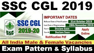 SSC CGL 2019 Vacancy Notification Pdf, Exam Date, Pattern, Syllabus, Apply Online Application Form