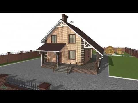 Типовой проект дома с мансардой и большой террасой  B-084-ТП
