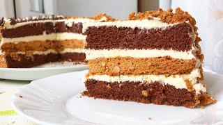 Торт с изюминкой и очень вкусным кремом Влажный шоколадный бисквит хрустящий ароматный корж Безе