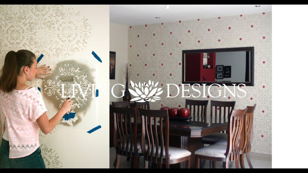 Living designs como pintar paredes con pinturas met licas - Plantillas decorativas pared ...