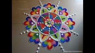Colorful, bright and unique rangoli for festivals | Rangoli using comb | Rangoli by Poonam Borkar